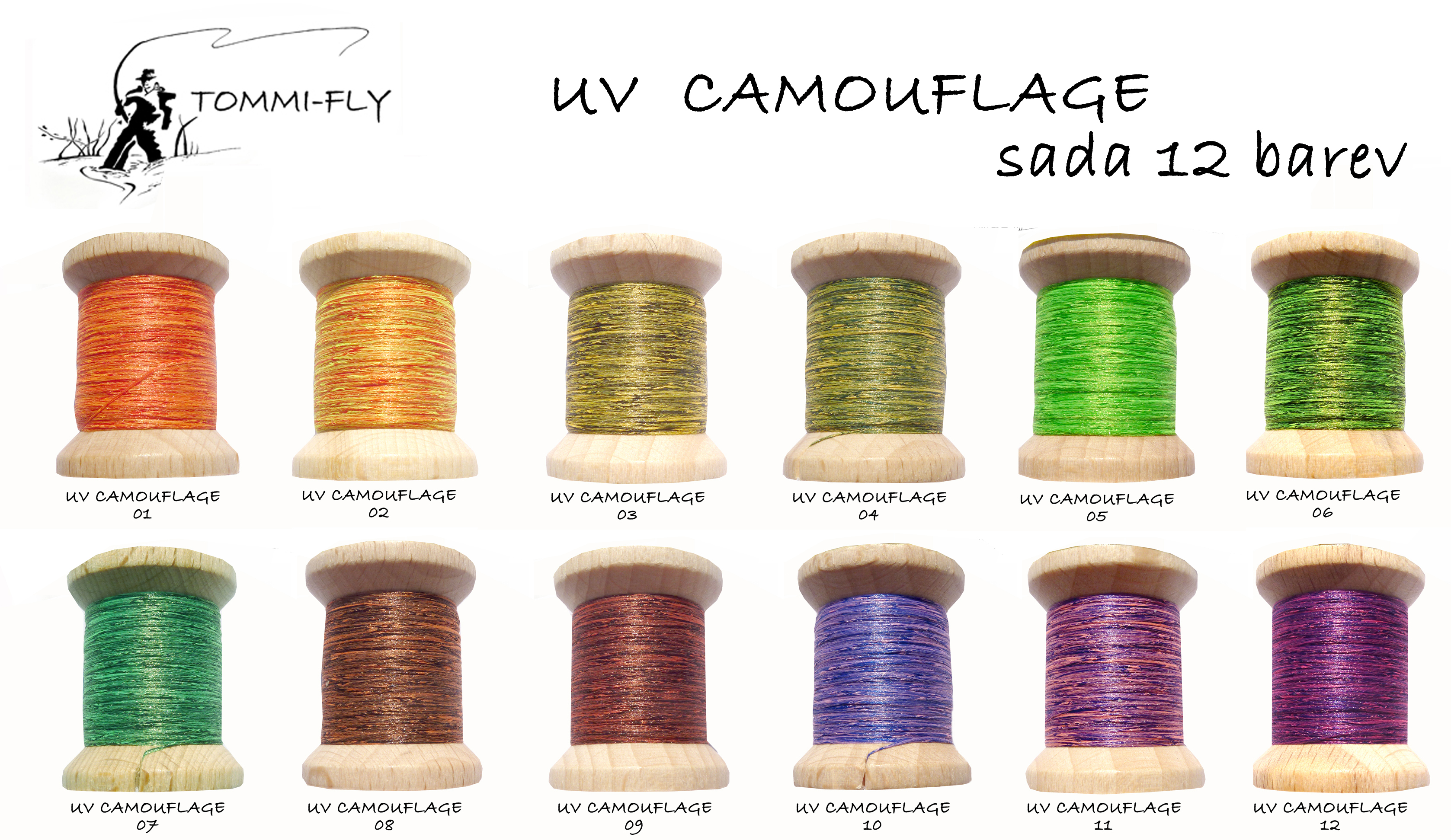 UV CAMOUFLAGE THREAD - 12 barev