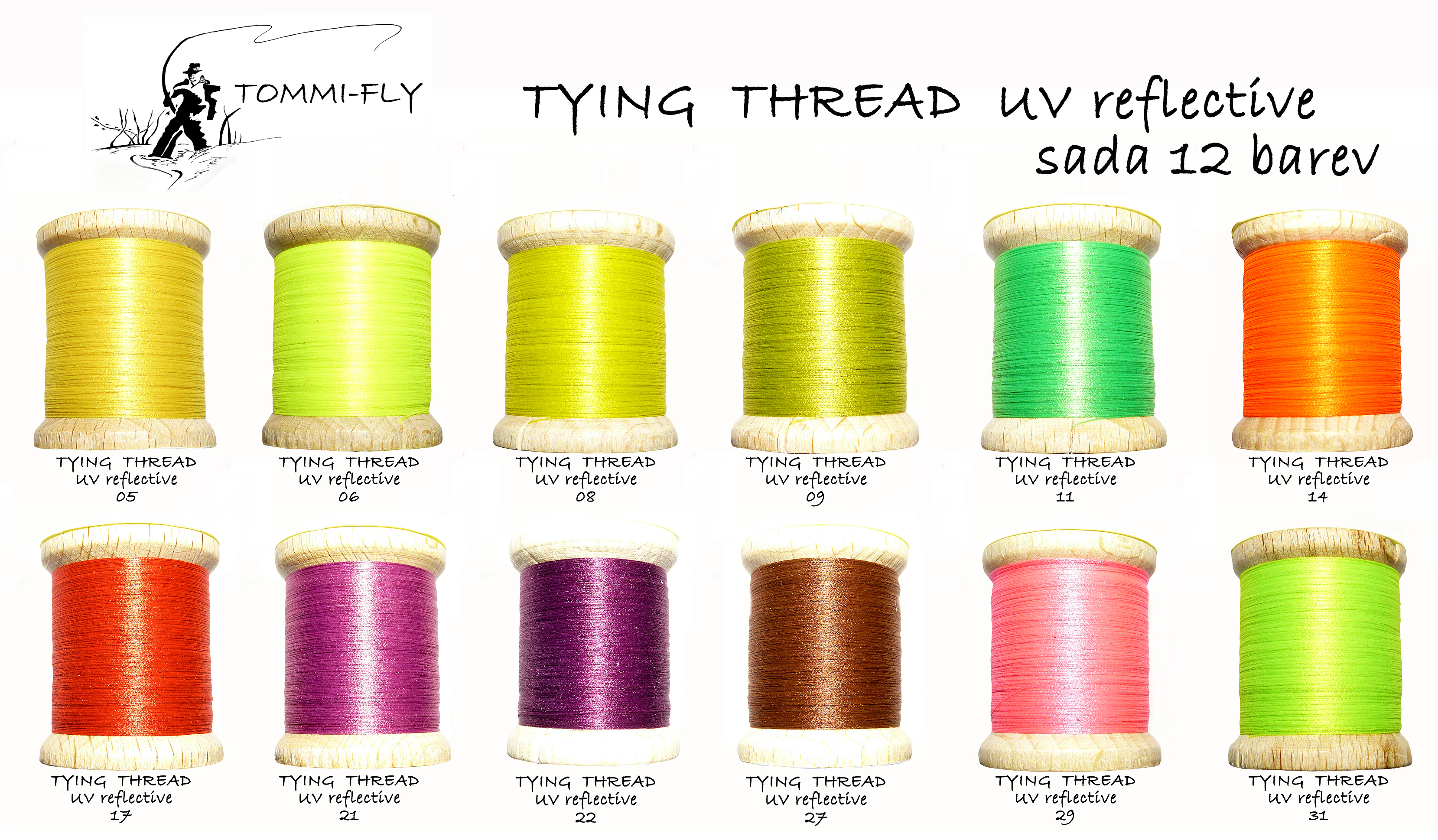 TYING THREAD UV REFLECTIVE - set 12 barev